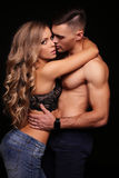 Love story. beatiful sexy couple. gorgeous blond woman and handsome man Royalty Free Stock Photos