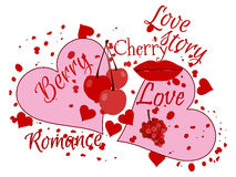 Love story. Beautiful print for t-shirts and textiles. Kiss and cherry. Love collage. Vector illustration Stock Photo