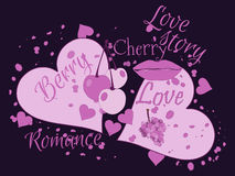 Love story. Beautiful print for t-shirts and textiles. Kiss and cherry. Love collage. Vector illustration Stock Images