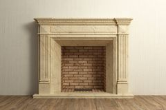 Respectable fireplace at home interior. Respectable stone fireplace at home interior royalty free stock photography