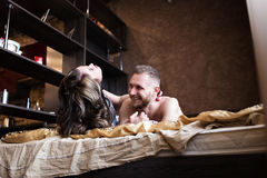 Love story in bed Stock Photo