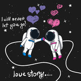 Love story of boy and girl astronauts in space. Cartoon childish vector illustration Royalty Free Stock Photo