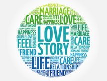 Love Story circle word cloud Royalty Free Stock Photography
