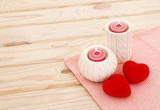 Love story concept.  red burning candle Stock Photos
