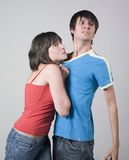 Love story ended. A studio portrait of a young couple about to fight Stock Photos