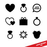 Love story flat icon. Wedding day. Valentines day. Stock Photos