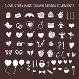 Love story hand drawn design elements doodle set. Vector vintage illustration. Love story hand drawn design elements doodle set. Decorative shapes for valentine Royalty Free Stock Photos