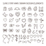 Love story hand drawn design elements doodle set. Vector vintage illustration. Love story hand drawn design elements doodle set. Decorative shapes for valentine Stock Photo