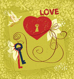 Love story about heart and key Royalty Free Stock Photo