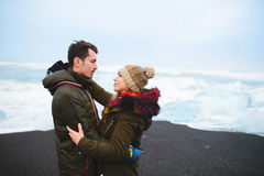 Love Story on Iceland Beach Royalty Free Stock Photography