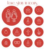 Love story in icons Stock Images