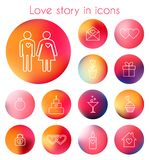Love story in line icons Stock Image