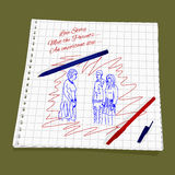 Love Story - Meet the Parents. Vector illustration  man introduces his girlfriend to his mother. Cute Romantic simple drawing a red and blue ballpoint pen on Royalty Free Stock Images