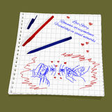 Love Story - romantic messages. Vector illustration of the friendship and correspondence in social networks. The drawing a red and blue ballpoint pen on squared Royalty Free Stock Images