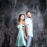 Love story, romantic tenderness couple in studio. Vintage, retro style Stock Images