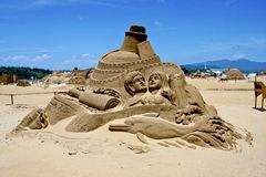 Love story sand sculpture Stock Images