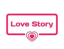 Love Story-Schablonendialogblase in der flachen Art auf weißem Hintergrund Mit Herzikone für verschiedenes Wort des Plans Vektor Lizenzfreies Stockfoto