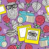 Love story seamless pattern with smart owls and old photos. Royalty Free Stock Photo