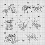 Love Story - set of vector illustrations of love. Cute Romantic simple  drawings  black ballpoint pen cliparts on a squared  paper Royalty Free Stock Images