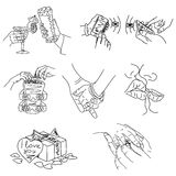 Love Story - set of vector illustrations of love. Cute Romantic simple  drawings  black ballpoint pen cliparts on a white background Stock Photography