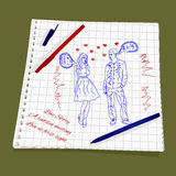 Love Story - A sudden meeting. Vector illustration of a love at first sight. The drawing a red and blue ballpoint pen on squared paper - Man and woman flirting Royalty Free Stock Photography