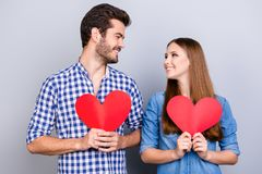 Love story. Trust and feelings, emotions and joy. Happy young co stock image