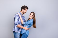 Love story. Trust and feelings, emotions and joy. Happy young co stock photography