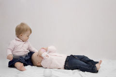 Love story of two little kids. Concept of romantic relations post card. Royalty Free Stock Photos
