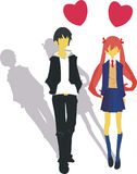 Love Story cartoon. Two teenagers were walking path Stock Photo
