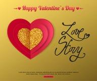 LOVE STORY - valentin kort för daghälsning Röd och guld- pappers- hjärta också vektor för coreldrawillustration Royaltyfri Bild