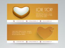 Love story web header design. Website header or banner set with heart of love story Stock Images