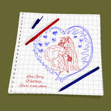 Love Story - Wedding. Vector illustration a new stage of love. Cute Romantic simple drawing a red and blue ballpoint pen on squared paper - groom holds his bride Stock Photo