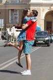 Love story of young couple hug and kiss Stock Photo