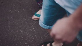Love story. Young couple walking and romantic stock video