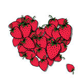 Love strawberry. Heart sketch for your design. Vector illustration Stock Photos
