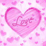 Love in striped heart on pink old paper Stock Images
