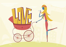 Love in stroller Stock Photography