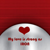 Love strong as iron message on Stock Image