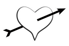 Love Struck. Heart with an arrow going through the centre Royalty Free Stock Image