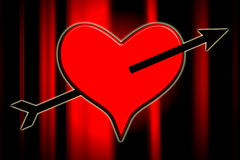 Love Struck. Heart with an arrow going through the centre Royalty Free Stock Photography