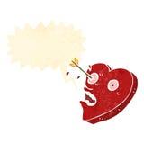 Love struck heart retro cartoon. Retro cartoon with texture. Isolated on White Stock Photography