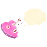 Love struck heart retro cartoon. Retro cartoon with texture. Isolated on White Royalty Free Stock Images