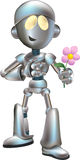 Love struck robot with flower. Illustration of love struck futuristic robot holding flower out Royalty Free Stock Image