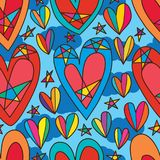 Love style inside star seamless pattern Royalty Free Stock Photos
