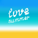 Love summer hand lettering. Calligraphy grunge style quote on bl Stock Images
