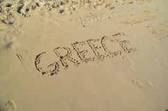 Love summer holidays on the beach sand. Greece Royalty Free Stock Photo