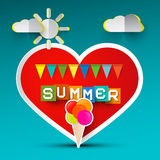 Love Summer Red Heart and Ice Cream Royalty Free Stock Image