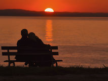 Love at sunset stock images
