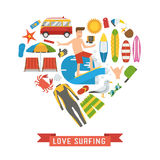 Love Surfing Heart Concept Stock Images