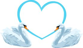 Love. Swans with big blue heart on the background appropriately to communication vector illustration